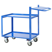 General Purpose 2 Tier Trolley With Extended Handle & Writing Shelf